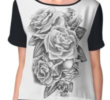 Black and Grey Roses Chiffon Top