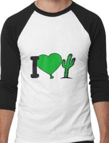i love love heart cactus nature desert gardener plants gardening green thumb Men's Baseball ¾ T-Shirt