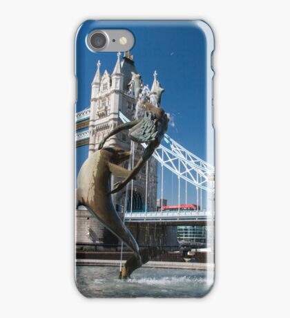 Dolphin and Girl statue at Tower Bridge, London, England. iPhone Case/Skin
