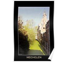 Mechelen Dyle river, 15th century crow-stepped gable Poster