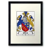 Johns Coat of Arms / Johns Family Crest Framed Print