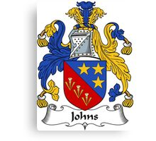 Johns Coat of Arms / Johns Family Crest Canvas Print