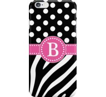 Black and White Zebra Stripes and Polka Dots B Monogram iPhone Case/Skin