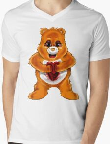 Heart Bear Mens V-Neck T-Shirt