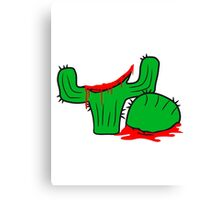 horror halloween bloody murder from head decapitated blood evil cactus comic cartoon Canvas Print