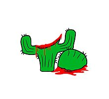 horror halloween bloody murder from head decapitated blood evil cactus comic cartoon Photographic Print