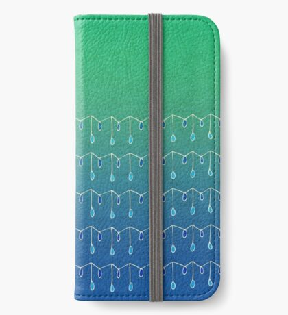 Droplets, Green and Blue iPhone Wallet