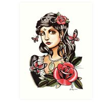Butterfly Girl - tattoo Art Print