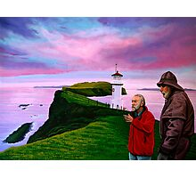 Lighthouse at Mykines Faroe Islands Painting Photographic Print