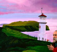 Lighthouse at Mykines Faroe Islands Painting Sticker