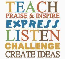 Teacher Text Quote Saying Praise Inspire Listen Kids Tee