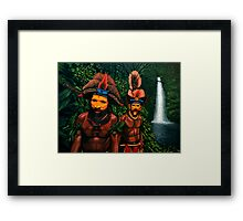 Huli men in the jungle of Papua New Guinea Painting Framed Print