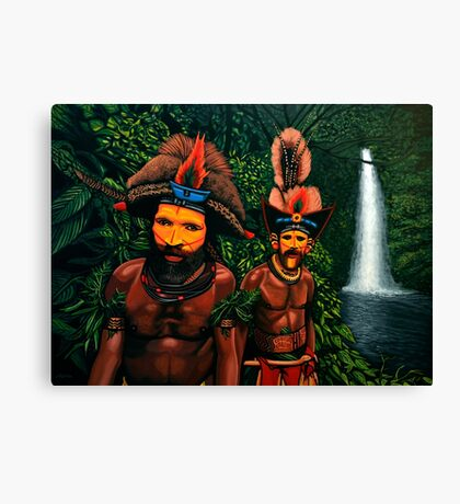 Huli men in the jungle of Papua New Guinea Painting Canvas Print