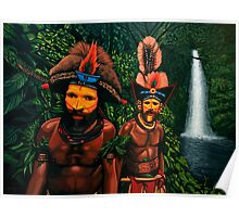 Huli men in the jungle of Papua New Guinea Painting Poster