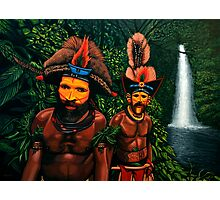 Huli men in the jungle of Papua New Guinea Painting Photographic Print