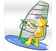 Cartoon windsurfer Poster
