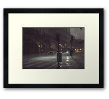 A Rainy Night In Lisbon. Framed Print