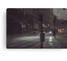 A Rainy Night In Lisbon. Canvas Print