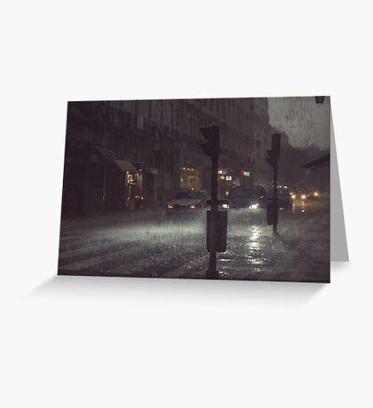 A Rainy Night In Lisbon. Greeting Card