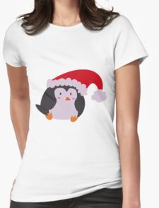 Christmas Hat Penguin Womens Fitted T-Shirt