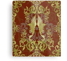 Damask Birds with Red Metal Print
