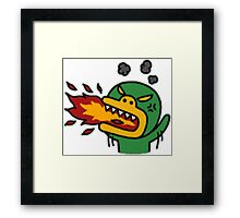 KakaoTalk Friends Tube Green Monster (Fire Breathing) Framed Print
