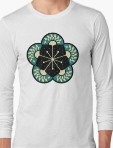 Geometric Heliconia Fan Pattern Long Sleeve T-Shirt