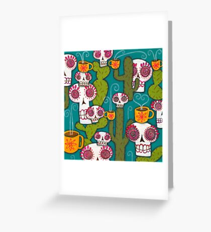 Skulls, Cacti and Atomic Coffee Greeting Card