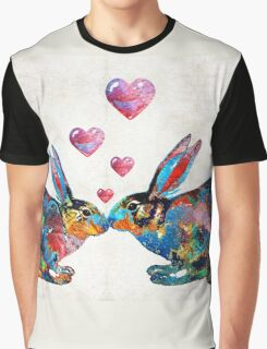 Bunny Rabbit Art - Hopped Up On Love - By Sharon Cummings Graphic T-Shirt