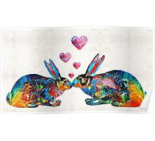 Bunny Rabbit Art - Hopped Up On Love - By Sharon Cummings Poster
