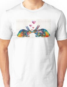 Bunny Rabbit Art - Hopped Up On Love - By Sharon Cummings Unisex T-Shirt