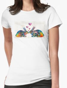 Bunny Rabbit Art - Hopped Up On Love - By Sharon Cummings Womens Fitted T-Shirt