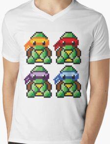 Teenage Mutant Ninja Turtles Pixel Art Mens V-Neck T-Shirt