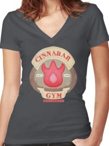 Pokemon - Cinnabar City Gym 'Feel the Burn' Women's Fitted V-Neck T-Shirt