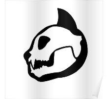 Black and White Cat Skull Poster