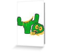 face funny horror halloween bloody murder from head decapitated blood evil cactus comic cartoon Greeting Card