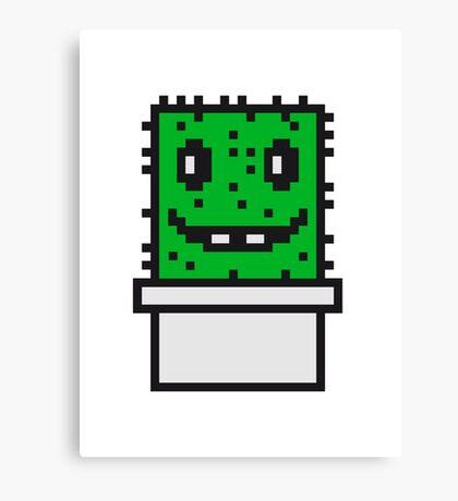 zocken face funny comic cartoon pixel nerd geek gamer videogame 2d 8 bit cactus design games Canvas Print