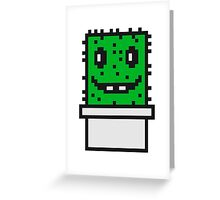 zocken face funny comic cartoon pixel nerd geek gamer videogame 2d 8 bit cactus design games Greeting Card