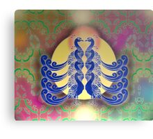 Blue Peacocks Metal Print