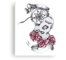 Hand drawn skull and roses Canvas Print
