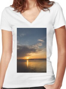 Good Morning, Toronto with a Glorious Sunrise Women's Fitted V-Neck T-Shirt