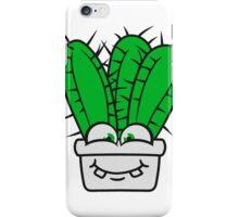 face, comic cartoon funny goad flowerpot cactus desert design large green cool iPhone Case/Skin