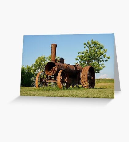 Antique Tractor - A Rusty Relic on a Farm Greeting Card