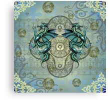 Dragons in Teal Canvas Print