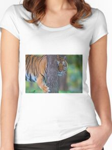 Tiger Hugging Tree Women's Fitted Scoop T-Shirt