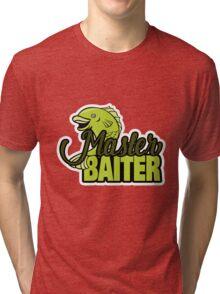 Funny Fishing Master Baiter Word Play Pun Tri-blend T-Shirt