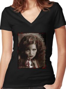 Clara with a Smoldering Look Women's Fitted V-Neck T-Shirt