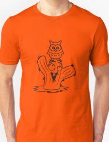 friends happy face desert owl bird owl small comic cartoon sweet cute little green cactus Unisex T-Shirt