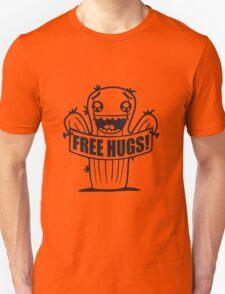 free hugs hugs hugz goad free comic cartoon face small green sweet cute cactus desert embrace balcony Unisex T-Shirt