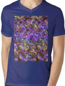 Floral Abstract Stained Glass Mens V-Neck T-Shirt
